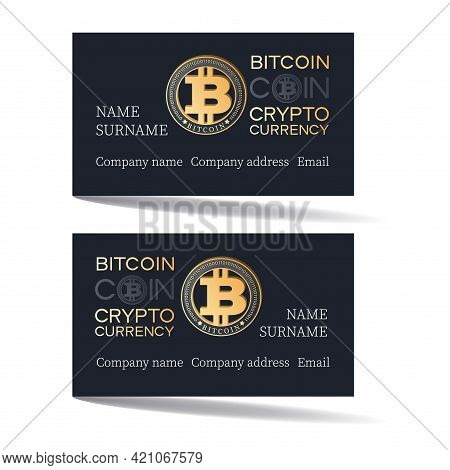 Bitcon Payment Card. Vector Card Template Design With Bitcoin On Black Background. Set. Concept Of U