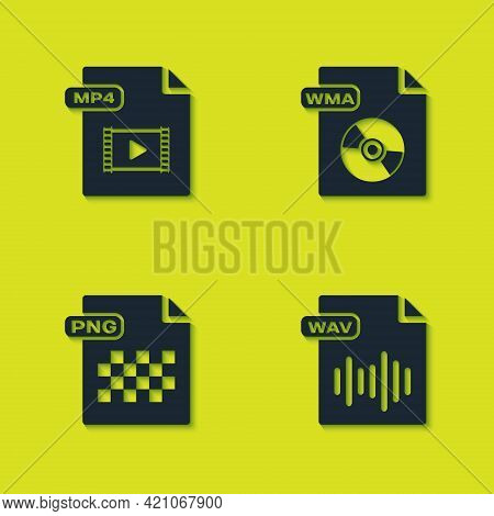 Set Mp4 File Document, Wav, Png And Wma Icon. Vector