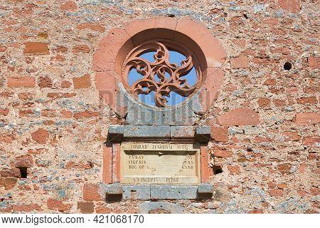 Bad Dürkheim, Germany - May 2021: Round Gothic Style Ornate Window Of Limburg Abbey In Palatinate Fo