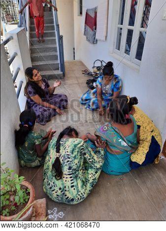 Bangalore, Karnataka, India-may 19 2021: Closeup Of Group Of Different Aged Peoples Playing Chowka B