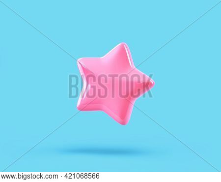 Cartoon Glossy Pink Star Isolated On Blue Background. 3d Rendering