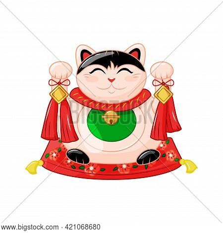 Maneki Neko Is A Traditional Japanese Cat. A Symbol Of Good Luck And Wealth. Colorful Vector Illustr