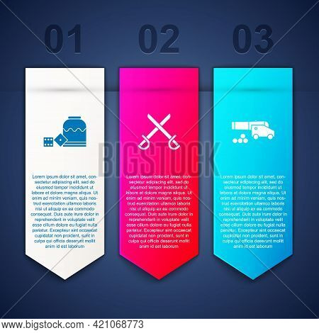 Set Pirate Game Dice, Crossed Pirate Swords And Cannon With Cannonballs. Business Infographic Templa