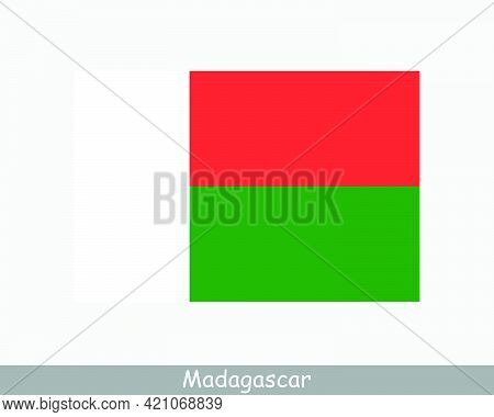 National Flag Of Madagascar. Malagasy Country Flag. Republic Of Madagascar Detailed Banner. Eps Vect