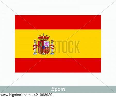 National Flag Of Spain. Spanish Country Flag. Kingdom Of Spain Detailed Banner. Eps Vector Illustrat