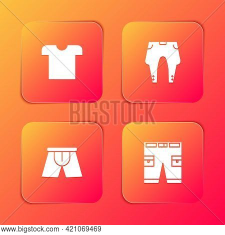 Set T-shirt, Pants, Men Underpants And Short Or Icon. Vector