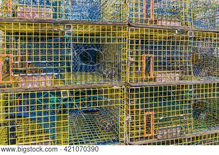 Empty Stacked Lobster Traps In Maine, New England, Usa, North America
