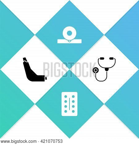 Set Inhaler, Pills In Blister Pack, Otolaryngological Head Reflector And Stethoscope Icon. Vector