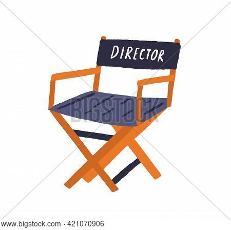 Hollywood Movie Director Chair. Foldable Seat For Filmmaker. Empty Folding Armchair For Filmmaking C