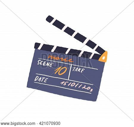 Slate Clapperboard For Video Production. Movie Clapper Board For Filmmaking. Clapping Synchronizing