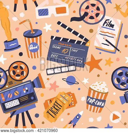 Seamless Movie Pattern With Cinema Items. Endless Background With Film Tape, Camera, Projector, Clap