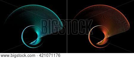 Turquoise And Red, Transparent, Airy Fans Rotate Beautifully Against A Black Background. Graphic Des