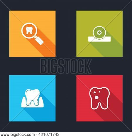Set Dental Search, Otolaryngological Head Reflector, Tooth And With Caries Icon. Vector