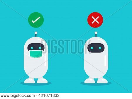 No Entry Without Face Mask. Robot Wearing A Protective Medical Mask For Prevent Virus Covid-19. Vect