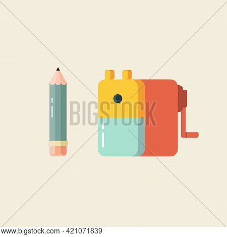 Pencil And Sharpener In Flat Style. Vector Illustration