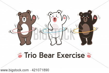 Cartoon Style Vector Set Of Three Different Bears: Brown Grizzly, Black And Polar. Trio Bear Playing