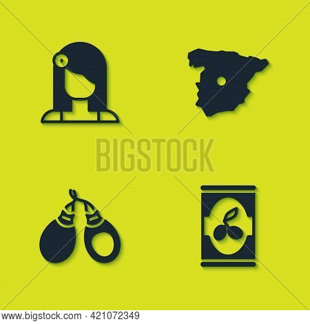 Set Spanish Woman, Olives In Can, Castanets And Map Of Spain Icon. Vector
