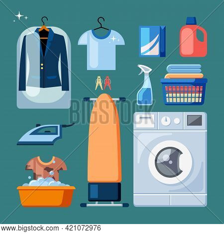 Washing And Cleaning Things Set. Cleaned Suits Hanging Tremple In Polyethylene Orange Ironing Board