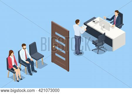 Isometric Human Resources Interview Recruitment Job. Hr Manager And Employee Candidate Meeting And T