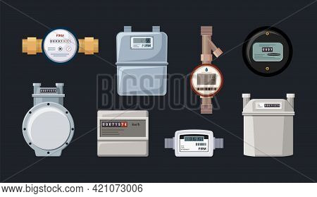 Household And Industrial Automatic Meters Set. Modern Electric With Electronic Indicators Retro Mech