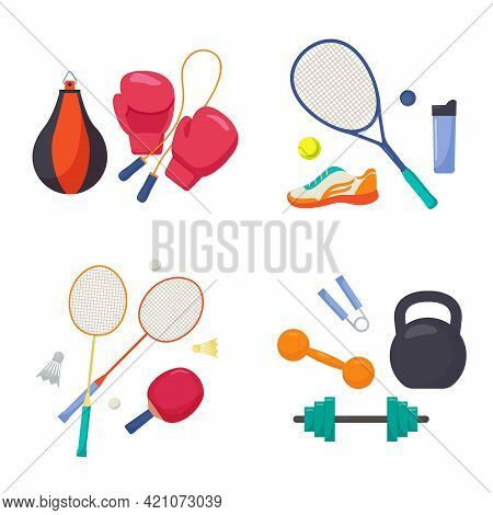 Sports Equipment Set. Boxing Gloves With Punching Bag And Skipping Rope Tennis Racket Running Shoes