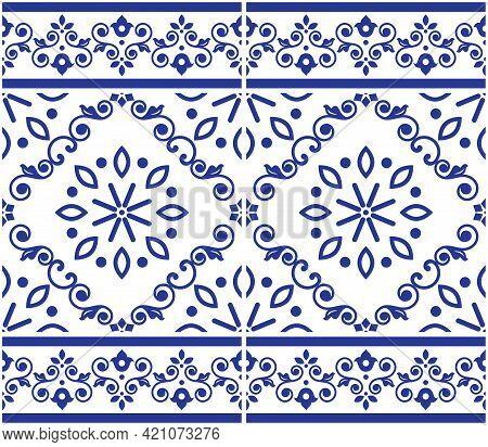 Lisbon Style Azulejo Tile Seamless Vector Indigo Pattern, Elegant Decorative Design Inspired By Art