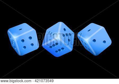 Poker Dice. Blue Casino Dice On Black Background. Online Casino Dice Gambling Concept