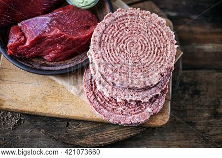 Semi-finished Products Isolated On A White Background. Frozen Meat Cutlets. Meat Product From Pork,