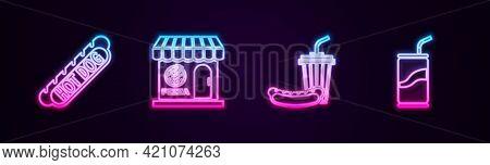 Set Line Hotdog Sandwich, Pizzeria Building Facade, Soda Hotdog And Can With Drinking Straw. Glowing