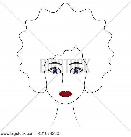 Ladys Face. African American Woman. Sketch. Head Of A Girl With Blue Eyes. Vector Illustration. Lush