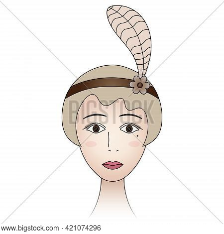 The Face Of A Lady From The 1920s. Woman Portrait In Retro Style. A Blonde Girl With Brown Eyes, A M