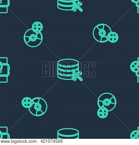 Set Line Database Server Service, Cd Or Dvd Disk And Smartwatch On Seamless Pattern. Vector