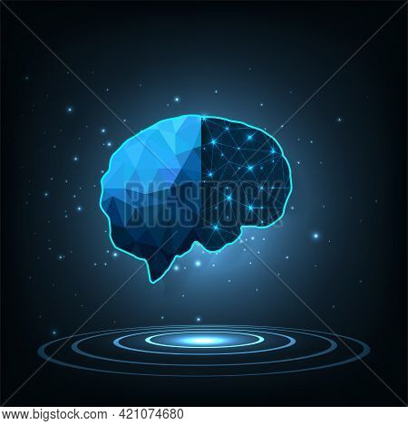 Artificial Intelligence Technology Concept(ai).brain Outline Made From Polygon  In Robot Digital Com