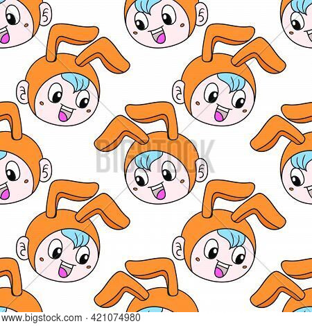 Kid Bunny Costume Seamless Pattern Textile Print. Great For Summer Vintage Fabric, Scrapbooking, Wal