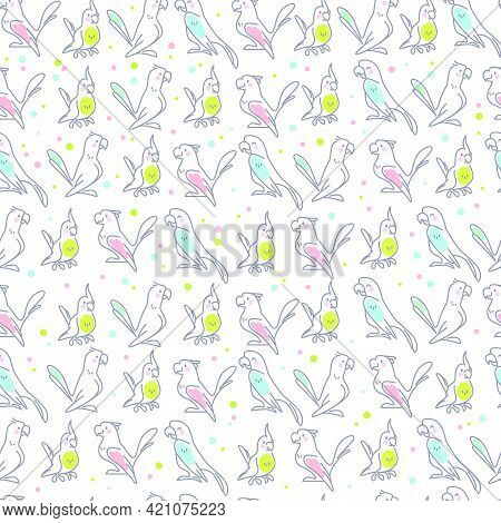 Seamless Pattern With Cute Birds Parrots Isolated On White Background. Vector Flat Outline Illustrat