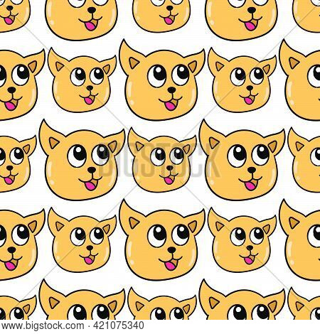 Smile Cat Kitten Seamless Pattern Textile Print. Great For Summer Vintage Fabric, Scrapbooking, Wall