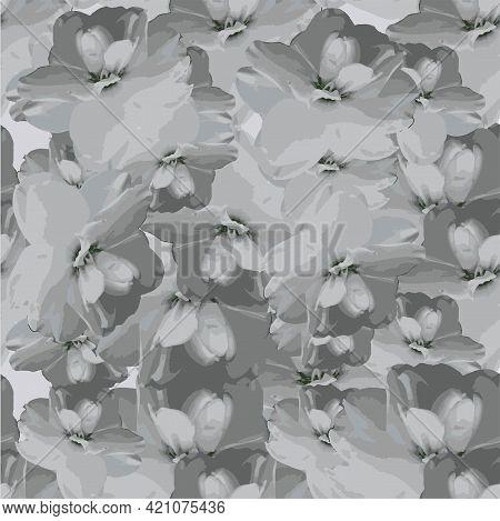 Daffodil White Flower Seamless Pattern Art Design Stock Vector Illustration Art Object Isolated For