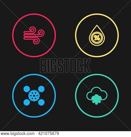 Set Line Snow, Cloud With Snow, Water Drop Percentage And Wind Icon. Vector