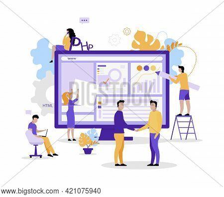 Web Development Company Flat Concept Vector Illustration. Software Engineering 2d Cartoon Characters
