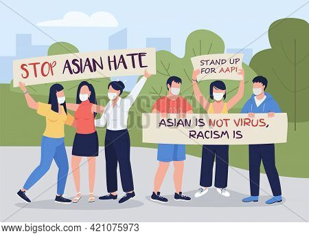 Stop Asian Hate Flat Color Vector Illustration. Covid-related Attacks, Hate Crimes Prevention Rallie
