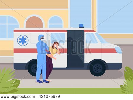 Emergency Medical Service Flat Color Vector Illustration. Covid Suspect Patient Transfer. Patient Wi