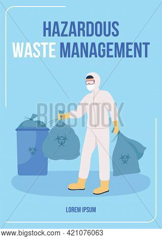 Hazardous Waste Management Poster Flat Vector Template. Toxic Products Disposal From Health Faciliti