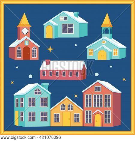Colorful Cartoon Xmas Night Village Houses Set