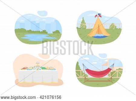 Planning Summer Holidays 2d Vector Web Banner, Poster Set. Camping Season Flat Objects On Cartoon Ba