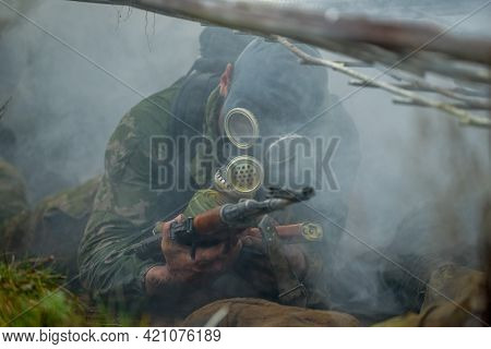 Belarus. 22, 04, 2014: A Machine Gun In A Dirty Mans Hand. Army, Special Forces, Military, Maroon Be