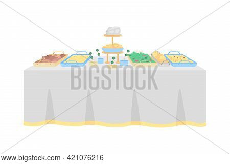 Buffet Table For Wedding Reception Flat Color Vector Object. Hotel Restaurant. Multiple Hot, Cold Di
