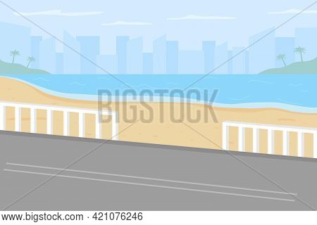 Hawaii Beach Flat Color Vector Illustration. Road To City. Tropical Resort. Summertime Trip. Summer