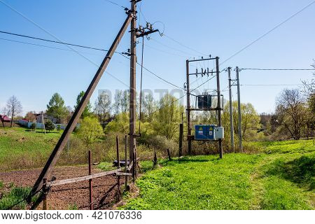 Mast Transformer Substation 10 - 0.4 Kv In Rural Areas: Fateevo, Russia - May 2021