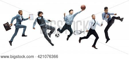 Collage Of Different Professional Office Styled Sportsmen, Fit People In Action And Motion Isolated
