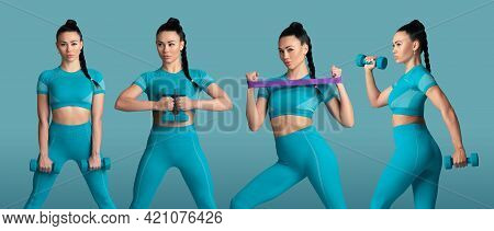 Collage Of Different Photos Of Professional Sportswoman, Athlete In Action And Motion Isolated On Bl
